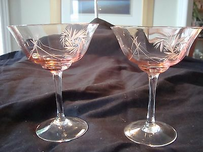 Gorgeous PINK DEPRESSION GLASS Set of 2 WINE/SHERBERT GLASSES!  A Must See!