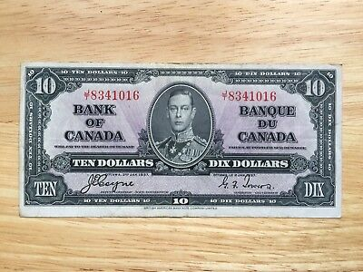 $10 1937 Bank of Canada note Coyne/Towers  LOOK at Pictures lot CT2
