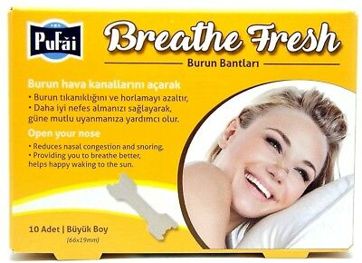 Breathe Fresh Nasal Strips ,10 piece in 1 box , Large Size 66x19 mm by Pufai