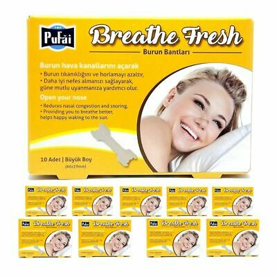 Breathe Fresh Nasal Strips ,100 piece in 10 box , Large Size 66x19 mm by Pufai