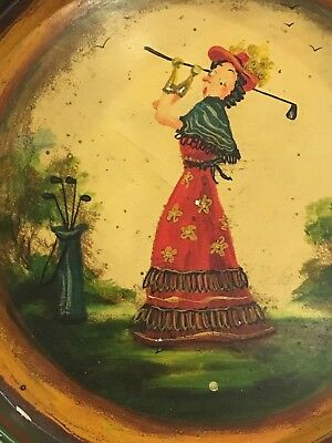 1940's LADY GOLF FOLK ART PAINTED TRAY SIGNED BY PETER OMPIR