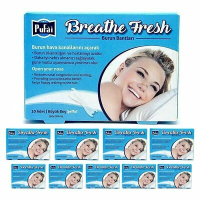 Breathe Fresh Nasal Strips ,100 piece in 10 box ,TRANSPARENT Large Size 66x19mm