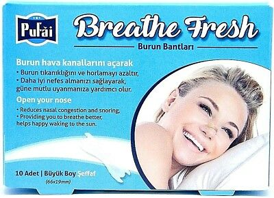 Breathe Fresh Nasal Strips ,10 piece in 1 box ,TRANSPARENT Large Size 66x19mm