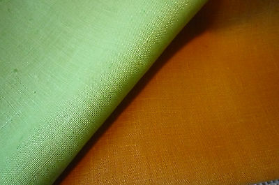SALE - Czech Linen Tea Towels Vintage - Lime Green Orange Linen c1960s