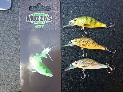 3 x 5 cm TROUT MINNOW FISHING LURE freshwater Muzza's lures
