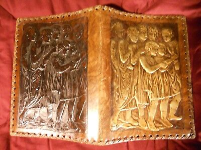 Vintage Embossed Leather Book Cover Folder Gilt Classical Choir