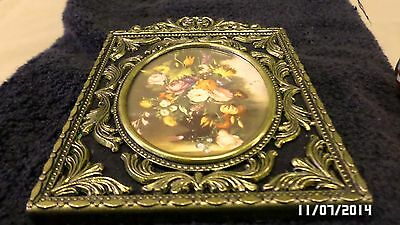 291M Vtg ITALY Ornate Brass Rectangle Frame 4 1/8 x 5 1/2 w/Oval Floral Picture