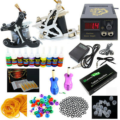 New Pro Complete Tattoo Kit 2 Machines Guns 10 Color inks Power Supply Set