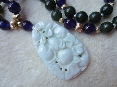 Antique Chinese FRUIT&FLOWER Hand Carved Pendant Jade Amethyst 10K Gold Necklace