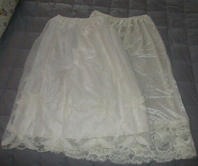 2 Vintage Barbizon & Unmarked Half Slips with Lace Rose Buds Embroidery