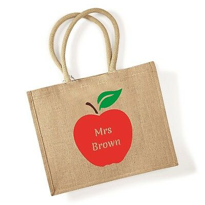 Personalised Jute Shopping Bag with APPLE Teacher Gift Name Grocery Carrier