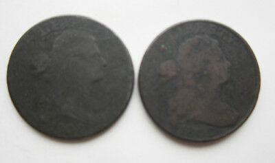 Lot of two Draped Bust large cents: 1800 and 1802