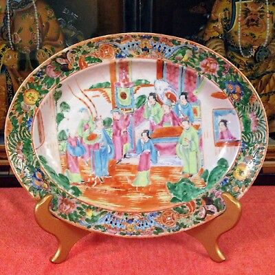 19th Century Chinese Export Platter, Famille Rose, Medallion, Mandarin, Canton
