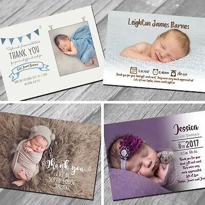 New Baby Thank You Cards, Personalised, Birth Announcement, Girl or Boy  (NB4)