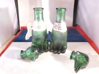 Vintage Pair Bessi Rufina Green Glass Dog And Cat Wine Decanters Italy