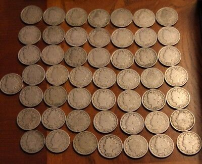 Lot Of 50 V Nickels Various Grades And Dates