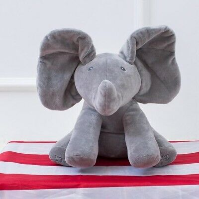 Peek a boo Elephant Plush Toy Electronic Flappy Elephant Play Hide And Seek Baby