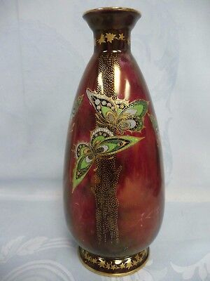 BEAUTIFUL ART DECO CROWN DEVON SYLVAN LUSTRINE VASE w/BUTTERFLIES - ENGLAND