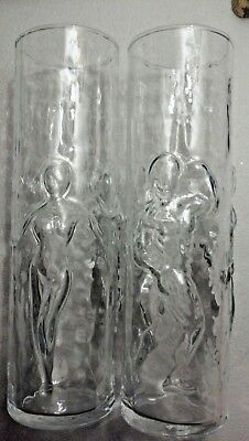 Set of 2 Libbey Man and Woman Nude Clear Tumblers LA FEMME & L'HOMME