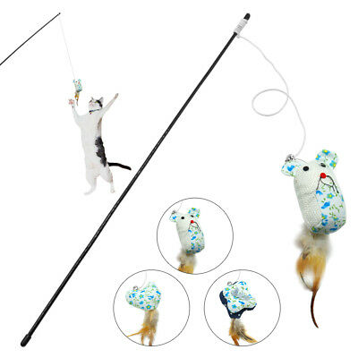 Funny Cat Kitten Teaser Feather Wire Chaser Pet Toy Wand Beads Play Interactive