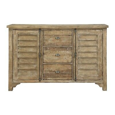 Emerald Home Sandstone Gray Buffet with Louvered Doors, Six Shelves, and Three D