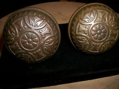 CAST BRONZ-OLD VINTAGE DOOR KNOBS--Decorative--Collection-Ornate - 1 PAIR.