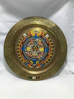 Mexico Metal Wall Hanging Round Mexican Plate - Mayan Calendar - Travel Souvenir