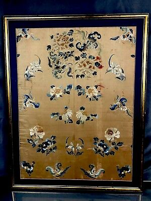 Very Fine Antique Chinese Silk Panel With Butterflies and Flowers Fine Details