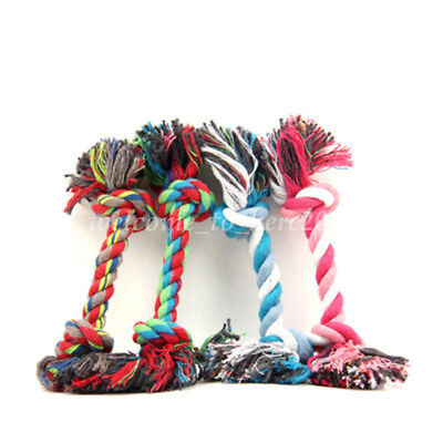 1Pc Pet Cat Chew Knot Tug Toy Cotton Braided Bone Rope Puppy Dog Play Supply S-L