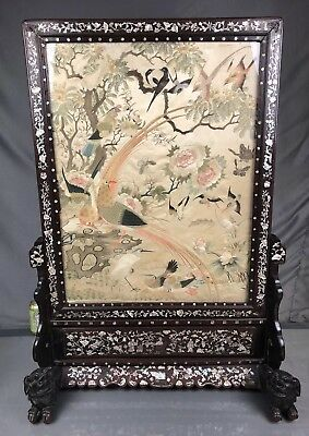 Extremely Rare Antique Chinese Silk Panel With 100 Birds Fine Embroidery NR