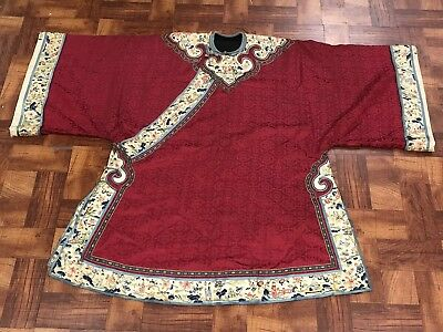 Very lovely antique Chinese silk robe with four sleeve bands very rare NR