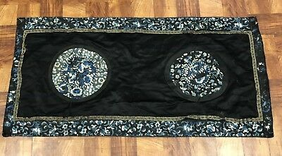 Lovely Fine Antique Chinese silk Panel With Butterflies and Flower No Reserve