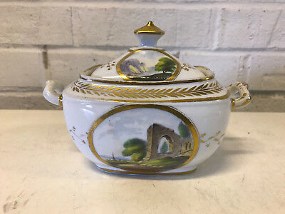 Antique Early 19th Century Chamberlains Worcester Sugar Dish Painted House