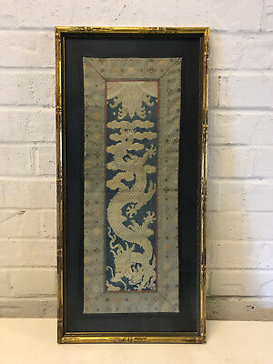 Antique Chinese Qing / Republic Framed Embroidered Textile Gold 5 Claw Dragon