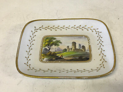 Antique Early 19th Century Chamberlains Worcester Tray Painted Figure by Castle