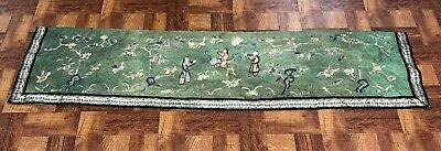 Lovely Antique Chinese Silk Green Panel With Figures No Reserve