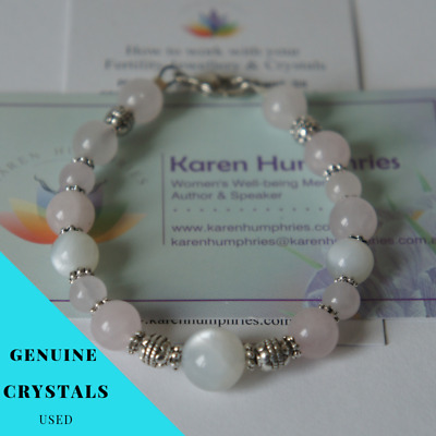 1 Fertility Rose Quartz/Moonstone Pregnancy Bracelet IVF TTC Hormones