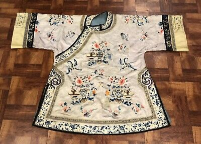 Lovely Late Qing Antique Chinese Silk Robe With Flowers & Sleeve Bands