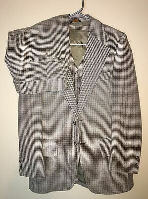 Vintage Mens 40R Brookforf 3 Piece Tan Check Wool Suit 34X30 Pants With Vest EUC