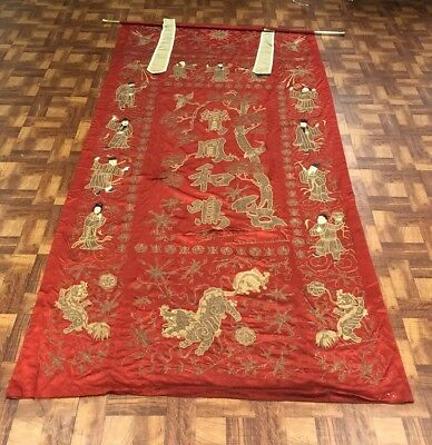 Very Large Antique Chinese Silk Panel With Immortals and Foo Lions 112 x 56 Inch