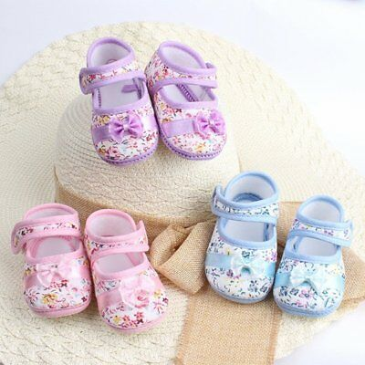Cute Baby Kids Floral Bowknot Crib Shoes Infant Toddler Prewalkers Size 4 5 6