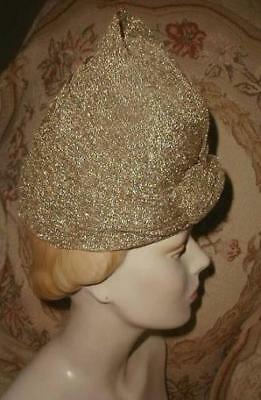 Hollywood Glam 1940s GOLD LAME' TURBAN,Beautifully Draped Hat,City of Paris VG
