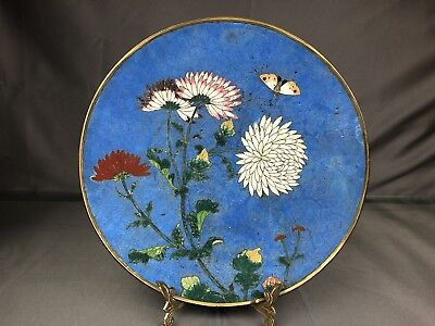Very Unique Antique Chinese Cloisonné Charger With Flowers Qing NO Reserve