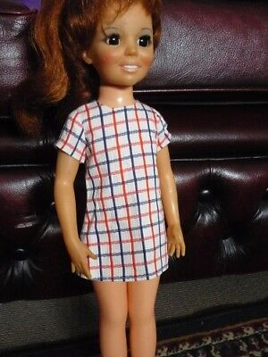 Crissy Doll. White with Blue and Red stripped Mini Dress. 1970s Clothing