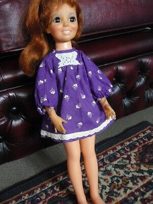 Crissy Doll. Purple with white flowers and lace trim Mini Dress . 1970s Clothing