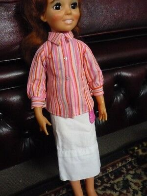 Crissy Doll. 3 Pce. Pink multicoloured Shirt, skirt, green pants 1970s Clothing