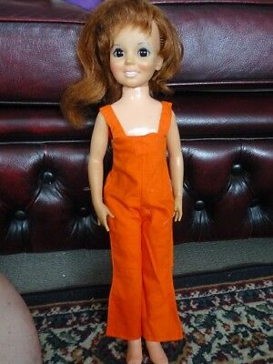 Crissy Doll. Funky Bright Orange full length Overalls 70s Clothing