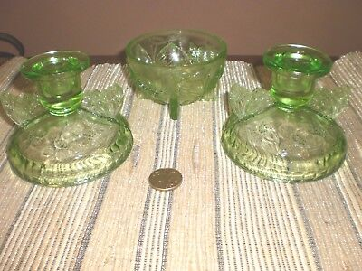 ANTIQUE GREEN DEPRESSION GLASS 2 X candle stick holders and bowl Butterfly
