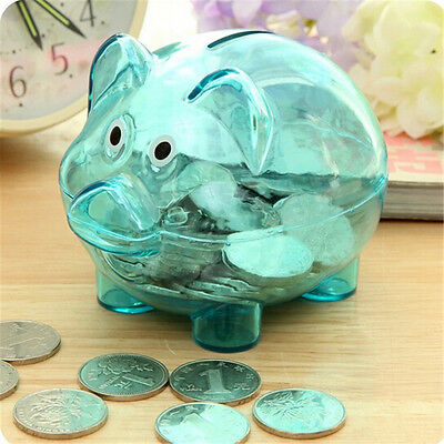 Cute Plastic Piggy Bank Coin Money Cash Collectible Saving Box Pig Toy Kids New