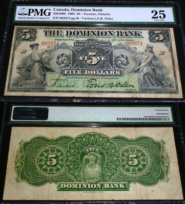 The Dominion Bank; 1905 $5 Ch # 220-16-08, Pmg 25 -2Nd Highest Pmg Grade